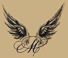 Angel-winged M tattoo design