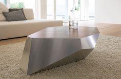 """Tavolino """"Diamante"""".Tavolino con struttira in alluminio satinato o verniciato oppure legno in finitura rovere Wengè, Grigio, Noce Canaletto, Rovere Affumicato.I"""