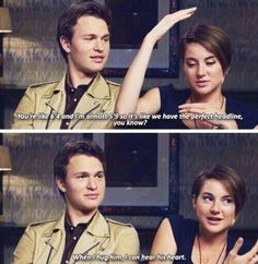 Shailene Woodley and Ansel Elgort are just adorable (and they play the two leads in TFIOS = bonus points). John Green Libros, John Green Books, William Faulkner, Hunger Games, Jhon Green, Augustus Waters, Ansel Elgort, Paper Towns, I Want To Cry