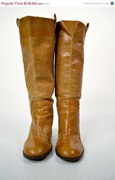 ON SALE 1970s BOHEMIAN Wells Fargo Boots Tall by MyrtleBedford, $62.40