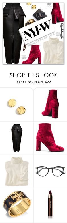 """""""NYFW: Velvet, Leather & Leo"""" by peony-and-python ❤ liked on Polyvore featuring Kenneth Cole, Yves Saint Laurent, Maticevski, Woolrich, Gucci, Tory Burch and Hourglass Cosmetics"""