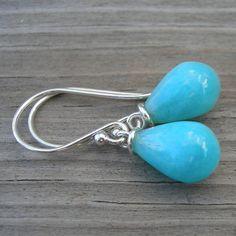 Amazonite Teardrop Briolette Sterling Silver Earrings by westbyron, $36.00