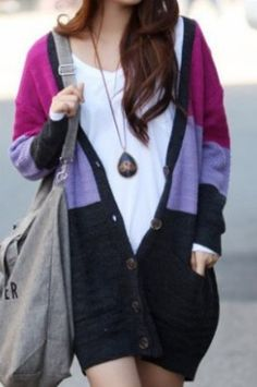 Red Purple Blue Long Sleeve Pockets Cardigan Sweater