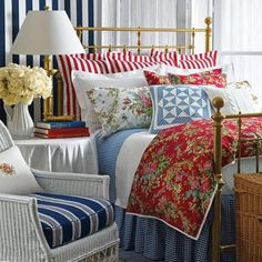 9 Red, White and Blue Bedrooms Show Off This Palette's Versatility: Red, White and Blue Cottage