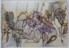 Eco printed paper and ink drawing - Cherie Livni