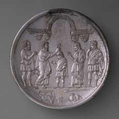 Plate with David Anointed by Samuel Date: 629–630 Geography: Made in Constantinople Culture: Byzantine Medium: Silver Dimensions: Overall: 10 1/2 x 1 1/2 in., 47.1oz. (26.6 x 3.8 cm, 1334g) foot: 4 13/16 x 1/2 in. (12.2 x 1.3 cm)