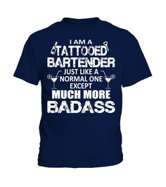 Tattooed Bartender Much More Badass Funny Bartender Pullover Hoodie (Kid T-Shirt - Navy) #firefighter #firerescue #ambulance bartender recipes cocktails, bartender recipes summer drinks, bartender recipes captain morgan, back to school, aesthetic wallpaper, y2k fashion