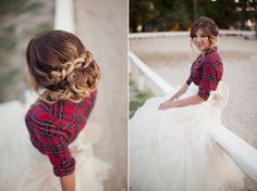 flannel and wedding dress | Flannel shirt over wedding dress for some ... | out on the farm weddi ...