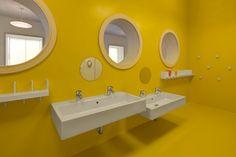 Image 4 of 17 from gallery of Rodeneck Kindergarden / pedevilla architekten. Photograph by Gustav Willeit School Bathroom, Bathroom Kids, Bathrooms, School Signage, School Cafe, Toilette Design, Kids Toilet, Kindergarten Design, Simple Bathroom Designs
