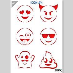 Emoji Icons Stencil A3 42 x 29,7 cm // 16,5 x 11,7 inch by QBIXbrand on Etsy https://www.etsy.com/listing/540583159/emoji-icons-stencil-a3-42-x-297-cm-165-x