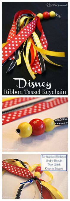DIY Gift Idea - DIY Disney World Keychain with a Ribbon Tassel!