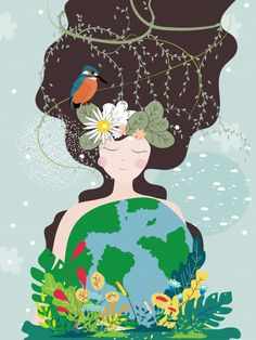 Mother Earth Day poster with planet and nature beauty woman. - Mother Earth Day poster with planet and nature beauty woman. Illustrations, Illustration Art, Earth Day Posters, Earth Poster, Art Environnemental, Flora Und Fauna, Save Our Earth, Green Earth, Shop Logo