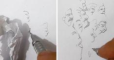 Tolga Girgin, maakt van de schaduwen van een prop papier portretten