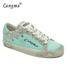 CANGMA Luxury Women Sneakers Canvas Casual Shoes Blue Breathable Genuine  Leather Footwear Female Adult Shoes Ladies Sequin a9b57173100a