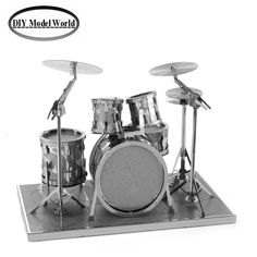 Drum kit musical instrument model kit laser cutting 3D puzzle DIY metalic jigsaw free shipping best birthday gifts for kids