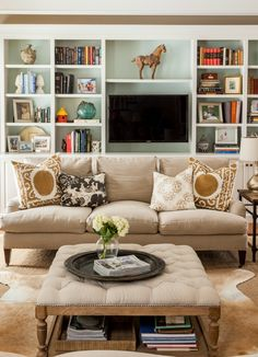 Inexpensive Coffee Table Buying Guide - Home Stories A to Z Traditional Family Rooms, Decor, Living Room Inspiration, Room Inspiration, Family Room, Inexpensive Coffee Table, Home Decor, Room Design, Room Decor
