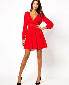 Chiffon Red XL Long Sleeve V-Neck Backless Dress Evening Party Club Cocktail