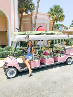 Palm beach travel tips and The Colony Hotel in Florida. Travel in style in the pink golf cart decked out with palm leaf interior! Palm Springs Florida, West Palm Beach Florida, Florida Hotels, Florida Beaches, Beach Hotels, Florida Travel, Colony Hotel Palm Beach, The Colony Hotel, Palm Beach Resort