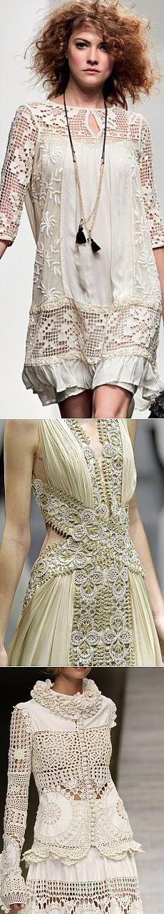 Bonito vestido com aplicações de crochê