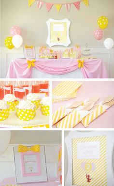 A pink and yellow, adorable monkey inspired party.