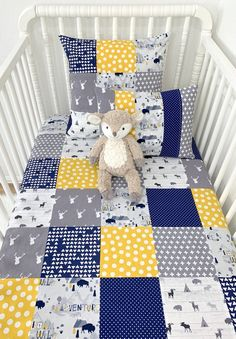 Baby Boy Blanket, Woodland Nursery Decor, Baby Shower Gift – Navy Blue, Gray and Mustard Yellow – Baby Nursery Boy – Baby Shop Baby Boy Quilt Patterns, Baby Boy Quilts, Baby Girl Blankets, Woodland Crib Bedding, Woodland Nursery, Baby Boys, Patchwork Baby, Baby Sewing Projects, Baby Yellow