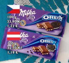 Milka 1/3: Čokoládu Milka jsem zkoumal i v první části. Tam jsme tehdy zjistili, že obě čokolády mají stejné složení a chuť. Lišily se pouze jazykovou verzí obalu. Koupil jsem speciální verzi Oreo a předpokládal, že tady bude určitě stejné složení pro německý i český trh. Jak se nakonec ukázalo, složení obou čokolád je stejné, výživové hodnoty jsou stejné, jen česká verze má 40% krému z alpského mléka s vanilkovou příchutí oproti 38% německé verze.