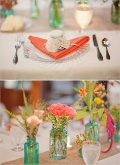 @Katie Cobb, check out this wedding, specifically the centerpieces.  They colored clear glass bottles and then filled with single stems.  It is a very eclectic - yet elegant approach.  @Mary Cobb