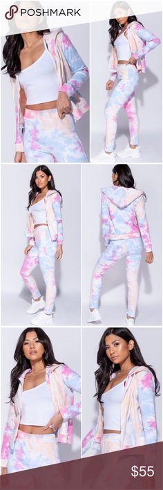 9ad73ff285a Tie dye lounge hooded zip top   leggings set. Adorable lounge wear set