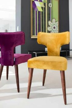 The beautiful Leila dining chair in gorgeous jewel tones of velvet fabric, isn't this the most amazing piece? And wouldn't it look stunning around your dining table? Also it makes a great statement chair next to a sofa in the living room, or even in the b Luxury Dining Chair, Dinning Chairs, Dining Table Design, Living Room Chairs, Bar Chairs, Luxury Sofa, Desk Chairs, Dining Room, Chair Fabric