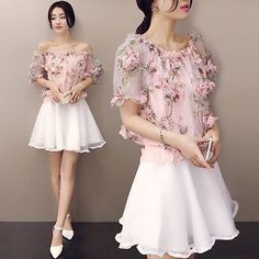 2016 Sweet Woman Korean Fashion Summer Short Sleeve Floral Two Pieces Dress Set