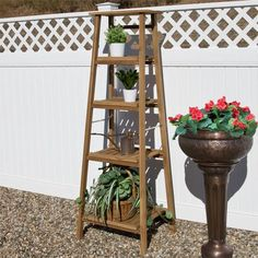 Four Tiered Ladder Style Teak Plant Stand