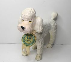 Imperial Toy WHITE RUBBER POODLE w/ tag 1974 Hong Kong #ImperialToyCorp