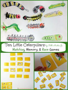 Ten Little Caterpillars Games to Go Along with the Book by Bill Martin Jr. - part of the Virtual Book Club for Kids