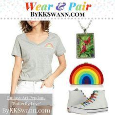 RE-PIN: Wear your Fantasy Art Pendants with PRIDE!  How do YOU #WearAndPair?  bykkswann.com/shop  ### #FantasyArtPendants #ByKKSwann feat. @drakeyart #DrakeyArt #FeedYourWhimsy #nancianneart #fantasy #butterfly #butterflylove #butterflyart #garden #butterflygarden #pride #rainbow #converse #polyvore bykkswann.com