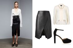 Seven summer workwear looks to copy now  gallery  Balancing contrasts is always important. The soft silk shirt is the perfect counterpoint to an elegantly strict black pencil skirt.     Donna Karan pre-fall-2015   Clockwise from left:  Theory skirt, $629.02. Topshop shirt, $67.57. Valentino heels, $811.10.