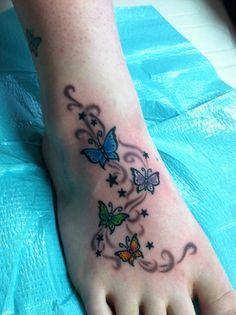 Butterfly tattoo designs on foot butterfly tattoos feet tattoos, butterfly Purple Butterfly Tattoo, Butterfly Tattoo On Shoulder, Butterfly Tattoos For Women, Butterfly Tattoo Designs, Dragonfly Tattoo, Vine Tattoos, Ankle Tattoos, Foot Tattoos, Body Art Tattoos