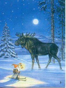 Norwegian ChristmasTomte on skis w/ moose Christmas Moose, Swedish Christmas, Scandinavian Christmas, Xmas, Vintage Christmas Cards, Christmas Pictures, Scandinavian Art, Christmas Illustration, Gnomes