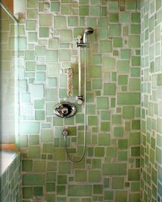 Recycled glass shower tiles with an organic feel + texture