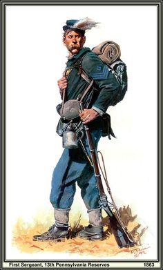 De bas en haut :13th, 72nd et 155th régiments de Pennsylvanie par Don Troiani.