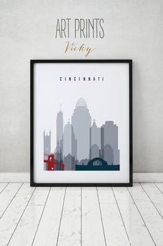 Cincinnati Art Print Poster Wall Art Cincinnati Skyline Ohio City Prints Typography Art Home Decor Fine Art Prints Artprintsvicky