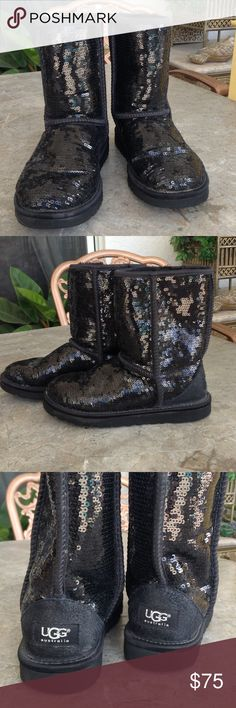 Black Sequin UGGS Absolutely adorable black sequin UGGs, worn twice, UGGs have a label on the back and the UGG Australia is in silver metallic, boots are in pristine condition. UGG Shoes Ankle Boots & Booties