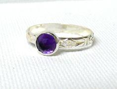 Silver amethyst ring rose cut gemstone ring by WatchMeWorld, $39.00