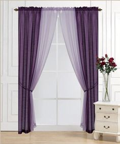 Plum Solid Voile Six-Piece Curtain Set