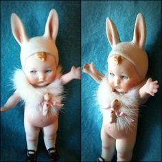 RESERVED: Rare Heubach All-Bisque Bunny Love by MyLittleDollies