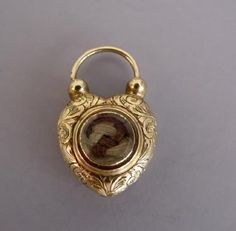 VICTORIAN puffy heart padlock charm with hair enclosure,