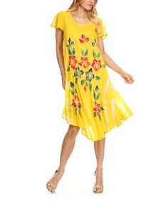 yellow n hite dress zulily