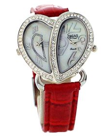 SALAS - Heart Shape Dual Time Watch with MOP dial and Red Strap$95....SALE:  $42.00