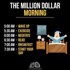 """The Million Dollar Morning"" Entrepreneur Motivation, Business Motivation, Business Quotes, Motivation Success, Study Motivation, Business Entrepreneur, Motivation Quotes, Self Development, Personal Development"