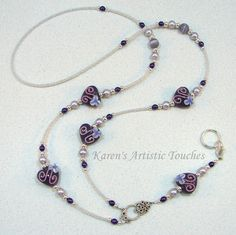Karen's Artistic Touches Store - Purple Passion Pearl Heart Beaded Lanyard ID Badge Holder, $27.99 (http://www.karensartistictouches.com/purple-passion-pearl-heart-beaded-lanyard-id-badge-holder/)