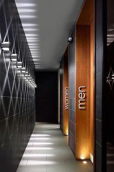 Ideas For Bathroom Design Commercial Wayfinding Signage, Signage Design, Cafe Design, Signage Board, Gym Design, Fitness Design, Design Commercial, Commercial Interiors, Commercial Bathroom Ideas